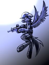 Size: 1197x1576   Tagged: safe, artist:fenixdust, oc, oc only, pegasus, pony, clothes, flying, goggles, gun, helmet, monochrome, sketch, soldier, solo, weapon