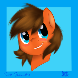 Size: 500x500   Tagged: source needed, safe, artist:drawlestia, oc, oc only, oc:lightning dancer, pegasus, pony, bust, female, portrait, simple background, smiling, solo