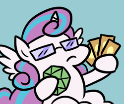 Size: 370x313 | Tagged: alicorn, artist:jargon scott, card, d20, dice, female, glasses, like a boss, nerd, nerdy heart, pony, princess flurry heart, safe, solo, sunglasses