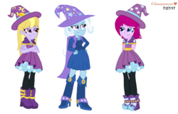 Size: 1805x1163 | Tagged: safe, artist:cinnamon-swirls, fuchsia blush, lavender lace, trixie, equestria girls, rainbow rocks, background human, female, requested art, simple background, transparent background, trixie and the illusions, vector