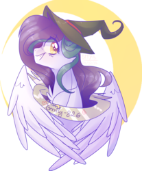 Size: 1024x1234 | Tagged: safe, artist:emily-826, oc, oc only, oc:shylu, pegasus, pony, banne, bust, female, hat, mare, portrait, simple background, solo, transparent background, witch hat