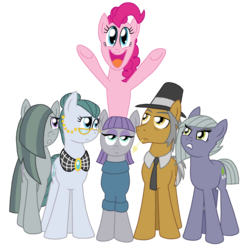 Size: 1800x1777 | Tagged: safe, artist:crazynutbob, cloudy quartz, igneous rock pie, limestone pie, marble pie, maud pie, pinkie pie, pony, family, pie family, pie sisters, quartzrock, siblings, simple background, sisters, transparent background