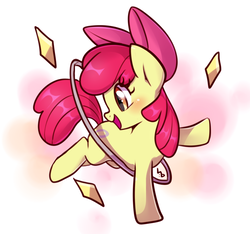 Size: 800x750 | Tagged: safe, artist:haden-2375, apple bloom, earth pony, pony, the cutie pox, adorabloom, apple bloom's bow, bow, cute, female, filly, hair bow, loop-de-hoop, raised hoof, smiling, solo