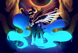 Size: 1024x705   Tagged: safe, artist:nutty-stardragon, daybreaker, nightmare moon, alicorn, pony, a royal problem, color porn, constellation, eclipse, female, fusion, helmet, long mane, long tail, looking at you, mare, slit eyes, solo, xk-class end-of-the-world scenario