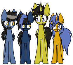 Size: 2053x1825   Tagged: safe, artist:nekro-led, oc, oc only, oc:cobalt, oc:golden glow, oc:pierce, oc:shimmer, alicorn, pegasus, pony, unicorn, :t, beard, colored wings, colored wingtips, facial hair, family, female, goatee, grin, male, mare, raised eyebrow, scar, simple background, smiling, smirk, squee, stallion, white background, winged unicorn