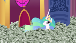 Size: 1920x1080 | Tagged: 28 pranks later, alicorn, artist:ariah101, cash, diner, dolan, edit, edited screencap, happy, horn, inverted mouth, money, multicolored hair, pony, princess celestia, purple eyes, royalty, safe, screencap, smiling, throne, throne room