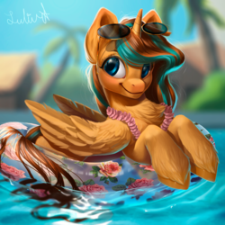 Size: 3000x3000 | Tagged: safe, alternate version, artist:lulemt, oc, oc only, alicorn, pony, alicorn oc, chest fluff, commission, female, floaty, glasses, lei, mare, palm tree, smiling, solo, sunglasses, swimming pool, tree, unshorn fetlocks, ych result