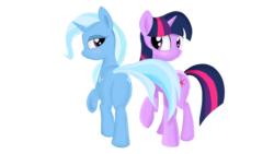 Size: 1024x576   Tagged: safe, artist:kas92, trixie, twilight sparkle, pony, unicorn, female, lesbian, mare, shipping, simple background, tail seduce, twixie, white background