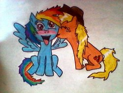 Size: 640x480   Tagged: safe, artist:spocins01, applejack, rainbow dash, pony, appledash, blushing, female, kissing, lesbian, shipping, spread wings, tongue out, traditional art, wingboner, wings