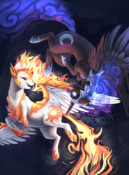 Size: 4488x6080 | Tagged: safe, artist:netoey, daybreaker, nightmare moon, alicorn, pony, a royal problem, absurd resolution, duo, female, fight, helmet, looking at each other, mare, sisters, smiling