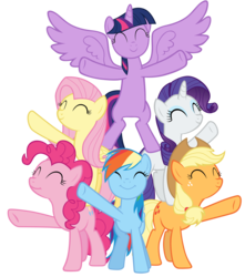 Size: 10600x12000 | Tagged: safe, artist:tardifice, applejack, fluttershy, pinkie pie, rainbow dash, rarity, twilight sparkle, alicorn, earth pony, pegasus, pony, unicorn, all bottled up, ^^, absurd resolution, best friends until the end of time, bipedal, cute, dashabetes, diapinkes, eyes closed, jackabetes, mane six, missing cutie mark, pony pyramid, raised hoof, raribetes, shyabetes, simple background, smiling, transparent background, twiabetes, twilight sparkle (alicorn), underhoof, vector