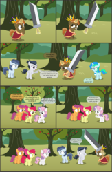 Size: 4551x7001 | Tagged: absurd res, alicorn, apple bloom, apple bloom's bow, artist:cyanlightning, bow, buster sword, buttoncorn, button mash, cape, clothes, colt, comic, comic:cyan's adventure, crown, cutie mark crusaders, earth pony, female, filly, final fantasy, final fantasy vii, hair bow, jewelry, king button mash, male, oc, oc:cyan lightning, open mouth, pegasus, pony, regalia, rule 63, rumble, safe, scarf, scootaloo, shady daze, shrunken pupils, .svg available, sweetie belle, sword, unicorn, vector, weapon, wide eyes