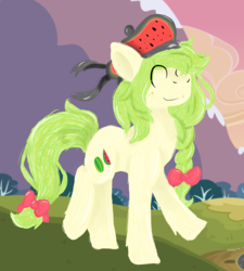 Size: 1845x2048 | Tagged: safe, artist:euspuche, oc, oc only, pony, food, hat, mountain, walking, watermelon