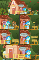 Size: 4550x7000 | Tagged: absurd res, alicorn, apple tree, artist:cyanlightning, buttoncorn, button mash, cape, clothes, colt, comic, comic:cyan's adventure, crown, door, earth pony, female, filly, jewelry, male, missing accessory, oc, oc:cyan lightning, pegasus, pony, regalia, rule 63, rumble, safe, scarf, shady daze, .svg available, tree, unicorn, vector