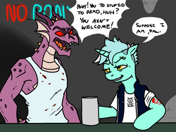 Size: 1666x1250 | Tagged: alternate hairstyle, artist:pony quarantine, biker, clothes, cup, dialogue, dragon, eyebrow piercing, hoof hold, jewelry, lyra heartstrings, misspelling, mug, neon sign, piercing, pony, safe, semi-anthro, shirt, tattoo, this will end in pain, this will not end well, unicorn