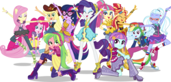 Size: 7000x3362 | Tagged: safe, artist:limedazzle, applejack, fluttershy, lemon zest, pinkie pie, rainbow dash, rarity, sci-twi, sour sweet, sugarcoat, sunny flare, sunset shimmer, twilight sparkle, dance magic, equestria girls, spoiler:eqg specials, absurd resolution, backwards ballcap, ballet, baseball cap, boots, bracelet, bracer, cap, clothes, converse, cowboy boots, cowboy hat, cowgirl, dress, ear piercing, eyes closed, female, flamenco, freckles, glasses, group, hat, headphones, humane five, humane seven, humane six, jacket, jewelry, open mouth, piercing, platform shoes, ponied up, pony ears, ponytail, rapper, rapper dash, scitwilicorn, shoes, show accurate, simple background, skirt, socks, stetson, the rainbooms, transparent background, tutu, twilight sparkle (alicorn), vector, vest, wings, wristband
