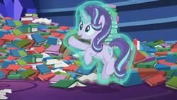 Size: 1920x1080   Tagged: safe, screencap, starlight glimmer, pony, unicorn, every little thing she does, book, bookshelf, crystal, cute, levitation, magic, paper, self-levitation, smiling, solo, spell, telekinesis, training, twilight's castle library