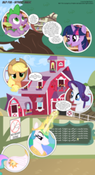 Size: 3300x6056 | Tagged: safe, artist:perfectblue97, applejack, princess celestia, rarity, spike, twilight sparkle, dragon, pony, comic:without magic, absurd resolution, book, bookshelf, chalkboard, comic, golden oaks library, karma, poster, sweet apple acres