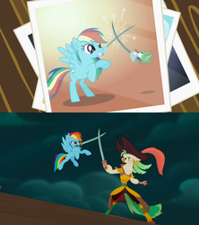 Size: 1280x1440 | Tagged: safe, screencap, captain celaeno, hummingway, rainbow dash, anthro, hummingbird, pony, may the best pet win, my little pony: the movie, anthro with ponies, bandana, comparison, fencing, mouth hold, photo, pirate rainbow dash, sword, weapon