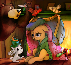 Size: 3300x3000 | Tagged: safe, artist:docwario, angel bunny, fluttershy, harry, bear, bird, pegasus, pony, squirrel, blanket, caring for the sick, clothes, cup, cute, female, fireplace, floppy ears, food, hairbrush, mare, mucus, plate, robe, runny nose, sick, smiling, tea, teacup, thermometer