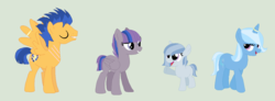 Size: 1424x522 | Tagged: artist:aurasparkle, crack shipping, family, female, flash sentry, male, mare, oc, pony, safe, sentrixie, shipping, simple background, straight, trixie, unicorn