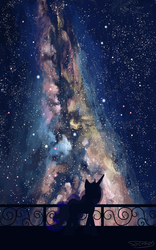 Size: 1250x2000 | Tagged: safe, artist:sycreon, princess luna, alicorn, pony, balcony, beautiful, featured image, female, galaxy, jewelry, mare, milky way galaxy, nebula, night, regalia, scenery, signature, silhouette, sky, solo, stars, the cosmos, walking