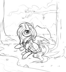 Size: 918x1000 | Tagged: safe, artist:aureai-sketches, fluttershy, pegasus, pony, black and white, cloud, female, flower, flower in hair, grayscale, happy, looking back, mare, monochrome, prone, river, scenery, sketch, smiling, solo, spread wings, tree, wings