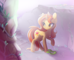 Size: 2500x2052 | Tagged: artist:vallionshad, bright, crepuscular rays, curious, curved horn, female, golden eyes, lighting, mare, oc, oc:cinderheart, oc only, pet, pony, ruins, safe, snake, solo, unicorn, vine