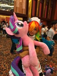 Size: 720x960   Tagged: artist needed, safe, rainbow dash, starlight glimmer, twilight sparkle, human, canton, canton cn bronycon, china, china ponycon, clothes, cosplay, costume, guangzhou, irl, irl human, life size, photo, plushie