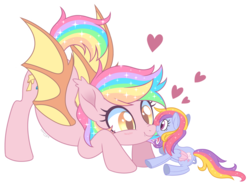 Size: 2886x2124 | Tagged: safe, artist:centchi, artist:hawthornss, oc, oc only, oc:glittering cloud, oc:paper stars, bat pony, pony, bat pony oc, blushing, boop, cute, cute little fangs, ear fluff, fangs, female, glitterstars, heart, lesbian, nose kiss, nuzzling, plushie, scrunchy face, shipping, simple background, smiling, transparent background