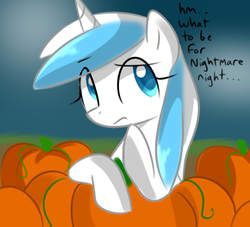 Size: 500x453 | Tagged: artist:marytheechidna, console ponies, dead source, nintendo, ponified, pony, pumpkin, safe, thinking, unicorn, wii