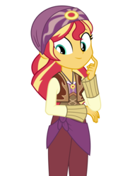 Size: 3882x5268 | Tagged: safe, artist:keronianniroro, sunset shimmer, equestria girls, movie magic, spoiler:eqg specials, absurd resolution, bandana, clothes, cute, female, india movie set, shimmerbetes, simple background, smiling, solo, sunshim, transparent background, vector