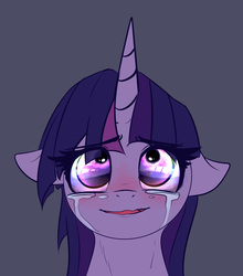 Size: 2563x2908 | Tagged: safe, artist:duop-qoub, twilight sparkle, alicorn, pony, descended twilight, bust, crying, eye reflection, female, floppy ears, gray background, looking up, mare, portrait, reflection, simple background, smiling, solo