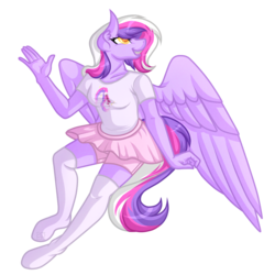 Size: 5500x5500 | Tagged: absurd res, anthro, anthro oc, artist:amazing-artsong, clothes, female, grin, mare, oc, oc only, oc:sketchbook wonder, pegasus, safe, shirt, simple background, smiling, stockings, thigh highs, transparent background, unguligrade anthro