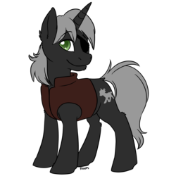 Size: 3000x3000 | Tagged: artist:floots, clothes, eyepatch, oc, oc:blinky, oc only, pony, safe, simple background, solo, transparent background, unicorn
