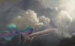 Size: 1980x1238 | Tagged: safe, artist:bra1neater, princess celestia, alicorn, pony, cloud, female, fine art emulation, mare, plot, scenery, solo, spread wings, wings