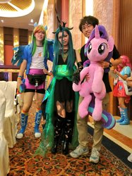Size: 767x1024   Tagged: safe, artist:nekokevin, queen chrysalis, rainbow dash, starlight glimmer, human, series:nekokevin's glimmy, canton cn bronycon, china, china ponycon, clothes, cosplay, costume, irl, irl human, life size, photo, plushie
