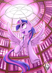 Size: 1240x1748 | Tagged: safe, artist:sea-maas, twilight sparkle, alicorn, pony, book, cute, featured image, female, flying, happy, library, mare, solo, that pony sure does love books, twiabetes, twilight sparkle (alicorn), underhoof