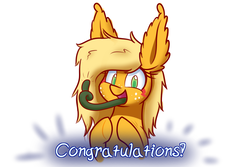 Size: 1500x1000 | Tagged: safe, artist:heir-of-rick, derpibooru exclusive, applejack, monster pony, original species, tatzlpony, alternate hairstyle, congratulations, cute, ear fluff, freckles, gift art, happy, impossibly large ears, prehensile tongue, simple background, smiling, solo, species swap, tatzljack, tentacle tongue, tentacles, thumbs up