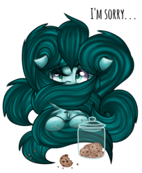 Size: 1296x1579 | Tagged: safe, artist:sketchyhowl, oc, oc only, oc:ambient waves, pony, caught, cookie, cookie jar, female, food, kitsune, mare, simple background, solo, transparent background
