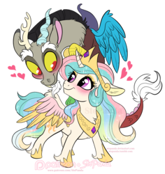Size: 871x921 | Tagged: safe, artist:stepandy, discord, princess celestia, alicorn, draconequus, pony, blushing, chibi, crown, cute, cutelestia, discute, dislestia, female, floppy ears, heart, jewelry, looking at each other, male, mare, regalia, shipping, simple background, smiling, spread wings, straight, transparent background, unshorn fetlocks, wings