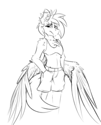 Size: 2639x3280 | Tagged: safe, artist:ralek, derpibooru exclusive, oc, oc only, oc:sapphire sights, anthro, pegasus, bra, breasts, clothes, ear piercing, gauges, hands in pockets, large wings, midriff, monochrome, piercing, shorts, sketch, small breasts, underwear, wings