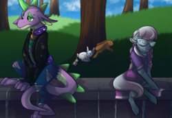 Size: 4000x2750 | Tagged: safe, artist:percy-mcmurphy, artist:vector-brony, mane-iac, silver spoon, spike, dragon, earth pony, pony, rabbit, alternate hairstyle, belt, clothes, collar, emo, eyebrow piercing, family, female, glasses, goth, jacket, jeans, jewelry, leather jacket, male, mare, necklace, older, older silver spoon, older spike, pants, piercing, pregnant, ripped jeans, sad, shipping, shirt, silverspike, skirt, spiked collar, straight, teenage spike, teenager, unsure
