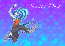 Size: 1000x715 | Tagged: safe, artist:ddd1983, sonata dusk, equestria girls, armpits, clothes, cute, female, open mouth, pants, shoes, sneakers, solo, spiked wristband, spikes, wristband