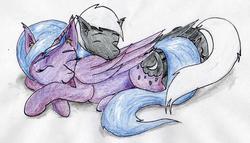 Size: 2262x1296   Tagged: safe, artist:40kponyguy, derpibooru exclusive, princess luna, oc, oc:alex sinfalair, alicorn, pegasus, pony, canon x oc, lulex, requested art, simple background, sleeping, traditional art, white background