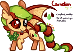 Size: 1347x951   Tagged: safe, artist:amberpone, oc, oc only, oc:carnelian, bat pony, gecko, hybrid, pony, bat wings, bowtie, cute, cutie mark, drawing, fanart, female, food, fullbody, green, happy, long tail, mane, mare, orange, original character do not steal, paint tool sai, painttoolsai, pegasister, red, red eyes, shading, short mane, simple background, smiling, standing, tail, teenager, transparent background, wings