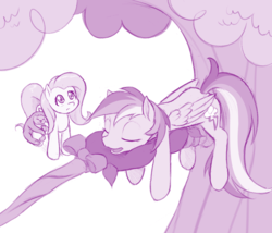 Size: 1000x856 | Tagged: safe, artist:dstears, fluttershy, lola the sloth, rainbow dash, pegasus, pony, sloth, fluttershy leans in, monochrome, sleeping