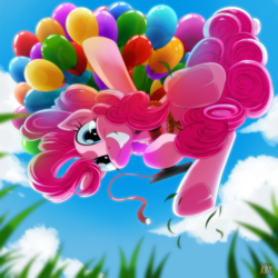 Size: 1500x1500 | Tagged: safe, artist:ruhisu, pinkie pie, earth pony, pony, balloon, cloud, floating, grass, grin, looking at you, looking down, ponk, sky, smiling, then watch her balloons lift her up to the sky, underhoof