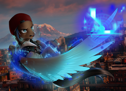 Size: 1280x922 | Tagged: safe, artist:supermare, oc, oc only, oc:playthrough, pegasus, pony, beanie, city, clothes, commission, cosplay, costume, delsin rowe, hat, hoodie, infamous, infamous second son, male, mountain, screenshots, seattle, stallion, video, video game