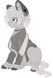 Size: 1024x1500 | Tagged: safe, artist:cinnamontee, oc, oc only, oc:clause, earth pony, pony, clothes, male, simple background, sitting, solo, stallion, transparent background